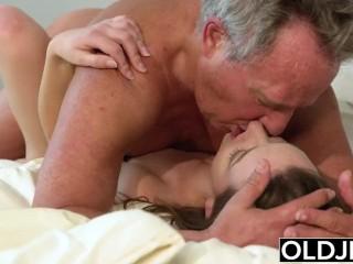 Young Girl Vs Old Man – Skinny Teen taking facial from fat grandpa