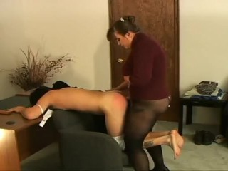 strong lady spanks and abuse sissy boy with strapon in ass