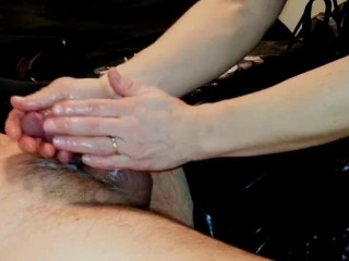 Poor hubby can't handle my pussy- ruined orgasm- femdom handjob- chastity