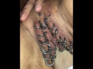 Fisting my wife heavy pierced cunt