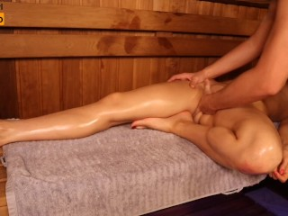 Oil Massage in Sauna, Young Girl Twice Got Orgasm | MASSAGE2018