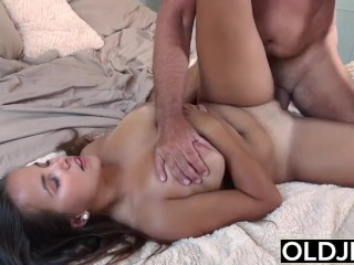 Old Young Big Tits Girl Gives Titjob and gets facial from Grandpa in bed