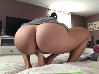 Another horny morning dildo ride while husband is at work