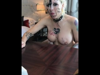 MILF prossie blows snot out her nose and licks it up